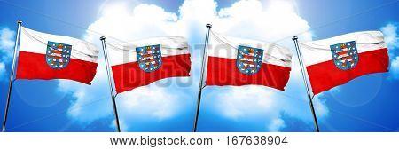 Thuringia, Thuringen flag, 3D rendering