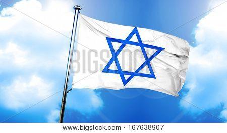 Star of David flag, 3D rendering