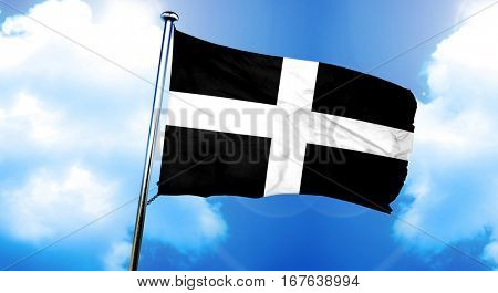 St piran flag cornwall flag, 3D rendering