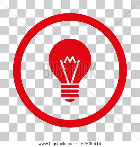 Hint Bulb rounded icon. Vector illustration style is flat iconic symbol inside a circle red color transparent background. Designed for web and software interfaces.