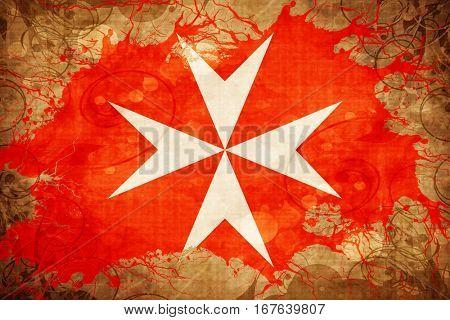 Vintage Malta knights flag flag