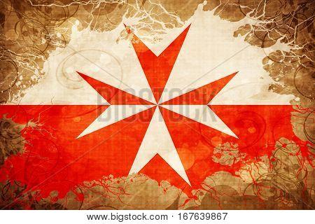 Vintage Malta knights symbol flag