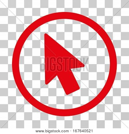 Mouse Pointer rounded icon. Vector illustration style is flat iconic symbol inside a circle red color transparent background. Designed for web and software interfaces.