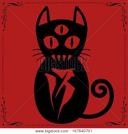 008 3Rd Eyed Cat No13 With Floral Frame.eps