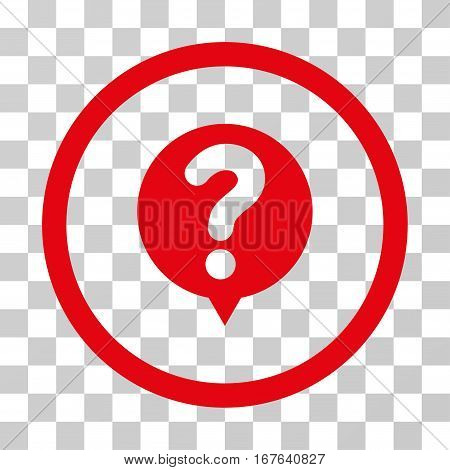 Status Query rounded icon. Vector illustration style is flat iconic symbol inside a circle red color transparent background. Designed for web and software interfaces.