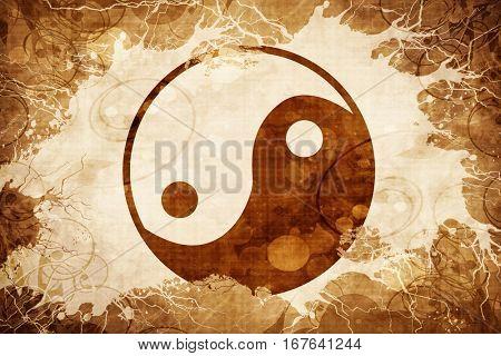 Grunge vintage yin yang symbol