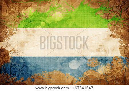 Grunge vintage Sierra Leone flag