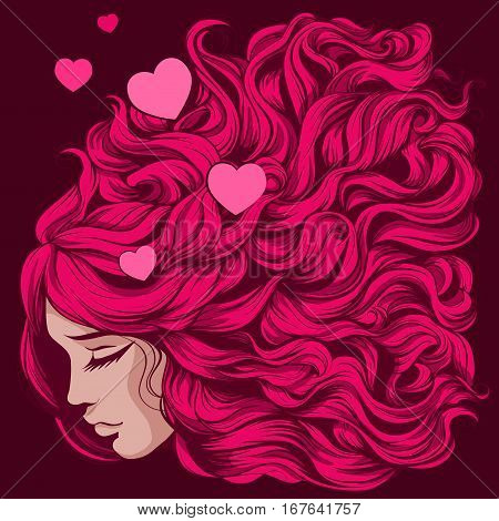 Vector illustration face girl with long hair beautiful hair with pink curls and heart against a dark background