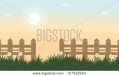 Vector flat of spring landscape collection stock