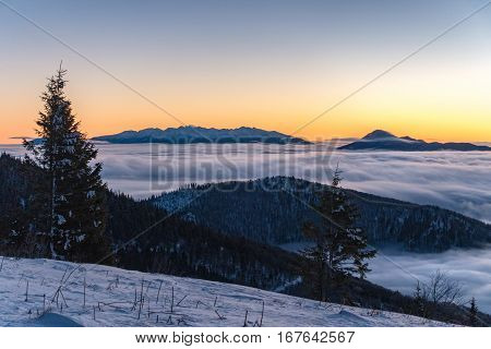 Beautiful Sunrise In Winter Little Fatra Mountains Above Low Clouds