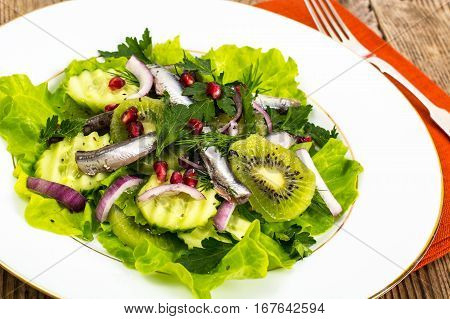 lettuce with anchovies and pomegranate seeds. Studio Photo