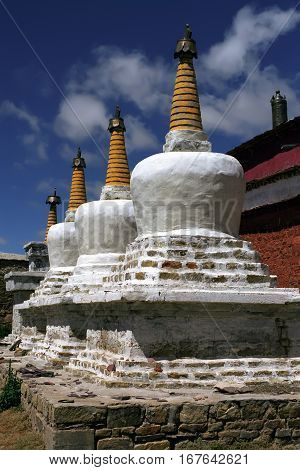 Buddhist ritual structures Stupas at the monastery Zhidung Gompa in Western Tibet.