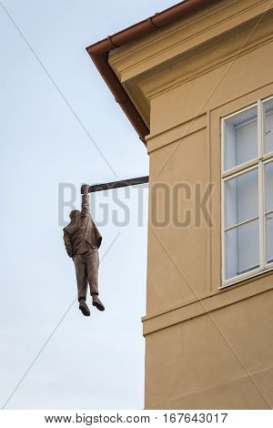 Prague Czech Republic - May 28 2016: View of the Hanging Man sculpture dedicated to Sigmund Freid made by sculptor David Cerny.