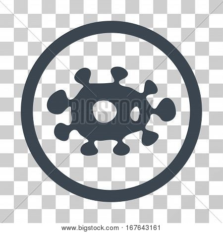Virus rounded icon. Vector illustration style is flat iconic symbol inside a circle smooth blue color transparent background. Designed for web and software interfaces.
