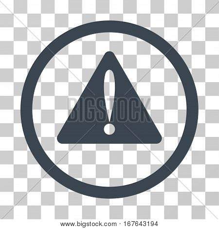 Warning Error rounded icon. Vector illustration style is flat iconic symbol inside a circle smooth blue color transparent background. Designed for web and software interfaces.