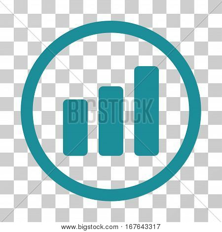 Bar Chart Increase rounded icon. Vector illustration style is flat iconic symbol inside a circle soft blue color transparent background. Designed for web and software interfaces.