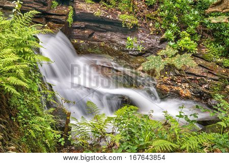 Waterfall in St Nectan's Glen valley in North Cornwall