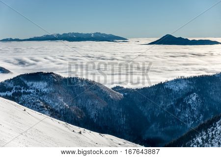 Sunny Day At Winter Little Fatra Mountains Ridge Above Clouds