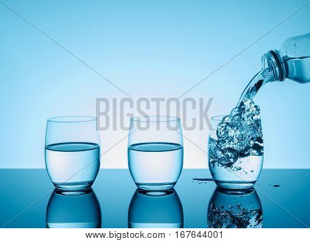 Bottle with creative splashing water in the glass on blue background.