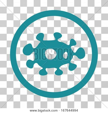 Virus rounded icon. Vector illustration style is flat iconic symbol inside a circle soft blue color transparent background. Designed for web and software interfaces.