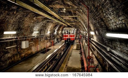Istanbul, Turkey - May 11, 2013: Tunel subway between Karakoy and Tunel Square, the second oldest funicular metro line in the world built in 1875.
