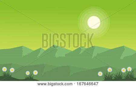 Illustration of mountain on green backgrounds collection stock