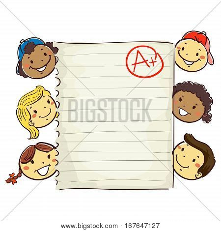 Vector Illustration of Stick Kids Around Paper showing A Plus Grade