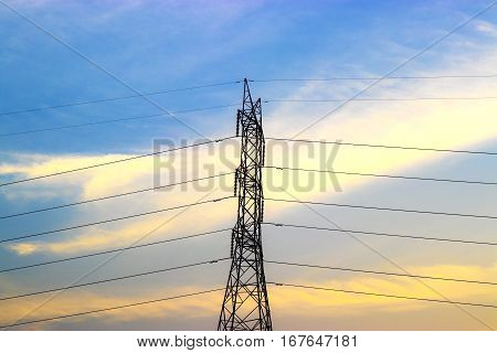 Powerline Colorful Of Sky And Clouds Background