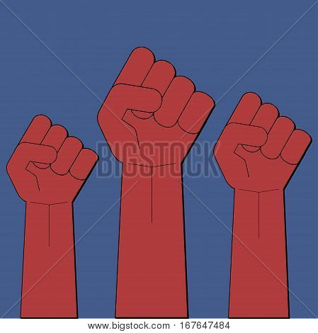 Clenched fist protest revolution strike meeting  vector