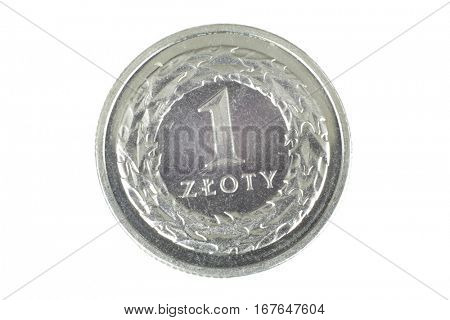 Polish zloty isolated over white background close up in studio.