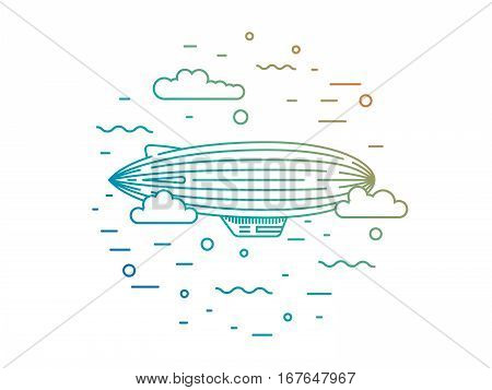 Dirigible and hot air balloons airship. Elements are drawn in vector in a linear style