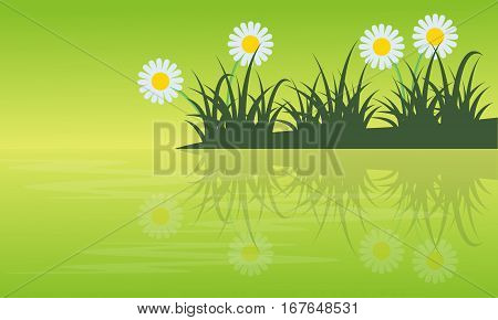 Collection stock of spring with flower ladnscape vector illustration