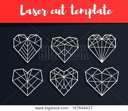 Laser Cut Template. Valentine's Card. Geometric Hearts Silhouette For Cutting. Paper Craft