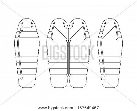 Sleeping bag spread out and ready to use, unbuttoned and buttoned, Packed in a roll and compressed by the bag. Vector illustration of linear, flat isolated on white background.