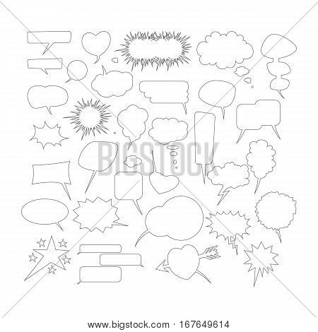 Chat bubble. Set of different shapes and sizes of speech bubbles. Vector illustration.