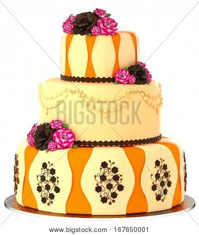 Three tier cake with 3 layer decorated chocolate rose and flowers. Birthday or wedding tired pie orange and yellow slice for event or holidays on white background. Sweet food on dish isolated.