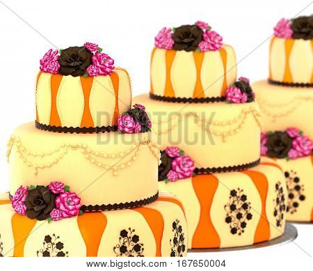Three tier cake with 3 layer decorated chocolate rose and flowers. Group of three birthday or wedding tired pie orange and yellow slice for event or holidays on white background. Sweet food on dish .