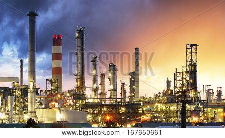 Oil Industry Refinery factory at Sunset Petroleum petrochemical plant