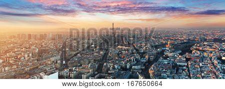 Paris skyline - panorama at a nice sunset