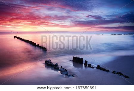 Dramatic sunset over a Baltic sea Poland