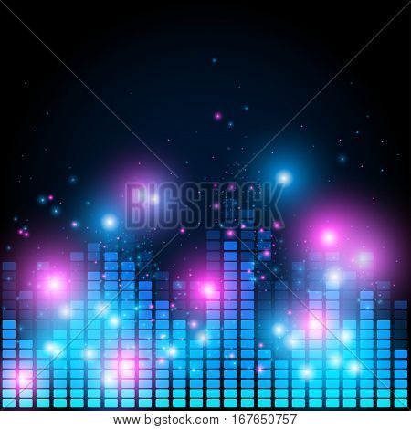 Retro 80 style abstract equalizer, night music club life vector concept