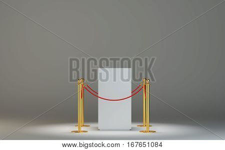 Empty white museum podium surrounded with barrier tape. Grey background is illuminated spot. Exhibition equipment isolated on white background. 3D Illustration