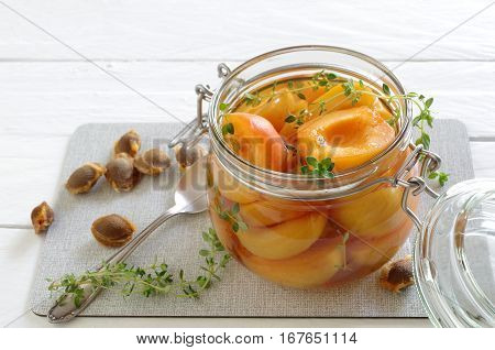 fresh tasty home made apricot compote with thyme