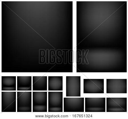 Dark black gradients for creative project backgrounds or product presentation. Vector backdrop set