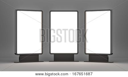 Lightboxes On Gray Studio Background. 3D rendering. Template for your Design