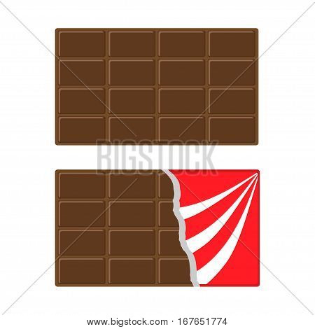 Chocolate bar icon set. Opened red wrapping paper foil. Milk dark dessert. Tasty sweet food. Rectangle shape Horizontal piece. Modern simple style. Flat design. White background Vector illustration