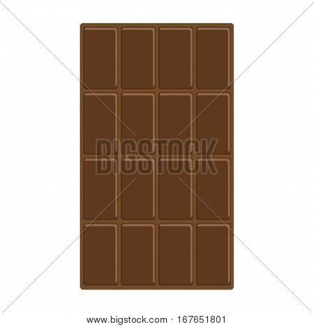 Chocolate bar icon. Tasty sweet food Milk dark dessert. Rectangle shape Vertical piece. Modern simple style. Flat design. White background. Isolated. Vector illustration