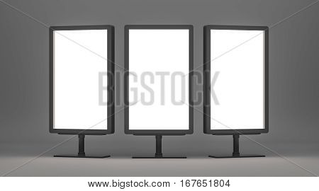 Blank billboards with copy space for your content. Empty Lightboxes on gray background. 3D Rendering