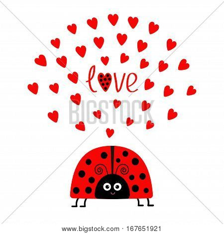 Red lady bug insect with hearts. Cute cartoon smiling face character. Word Love Greeting card. Happy Valentines Day. White background. Flat design. Vector illustration