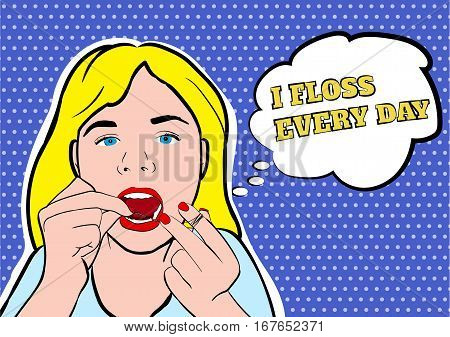 Girl flossing teeth vector illustration. Hygiene flossing teeth, medicine dental flossing and oral care vector EPS10